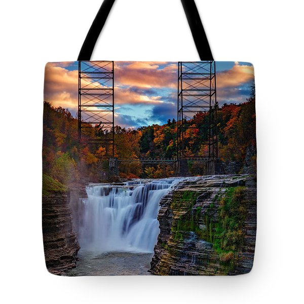 Upper Falls Letchworth State Park Tote Bag by Rick Berk