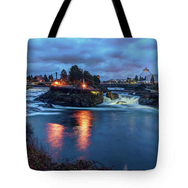 Upper Spokane Falls At Dusk Tote Bag