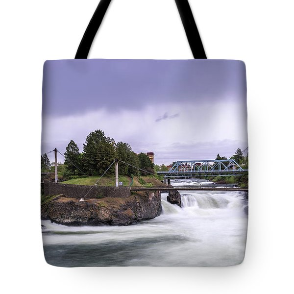 Upper Spokane Falls On A Rainy Day Tote Bag