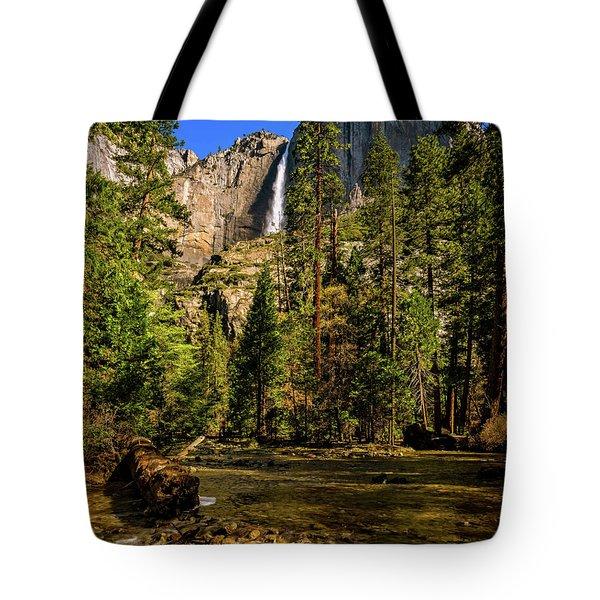 Tote Bag featuring the photograph Upper Yosemite Falls From Yosemite Creek by John Hight