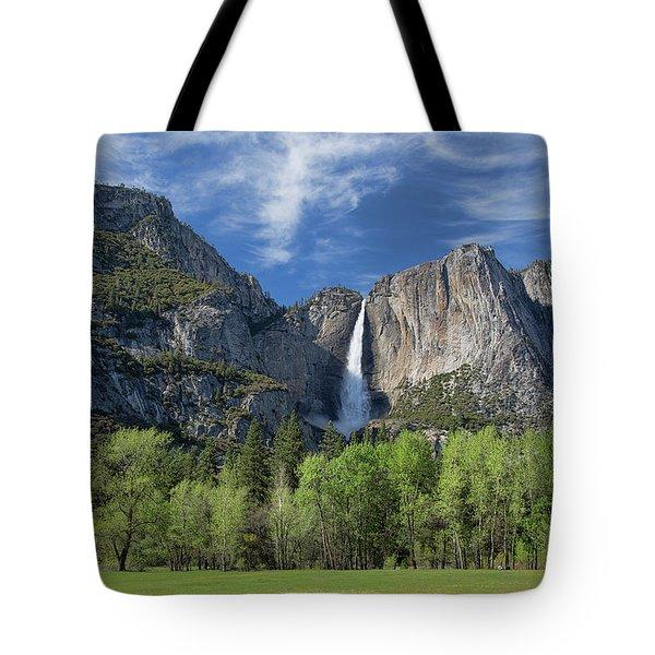Upper Yosemite Falls In Spring Tote Bag