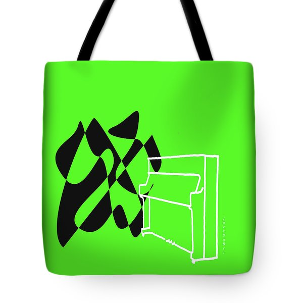 Upright Piano In Green Tote Bag