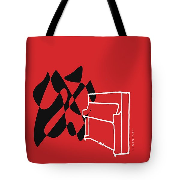 Upright Piano In Red Tote Bag