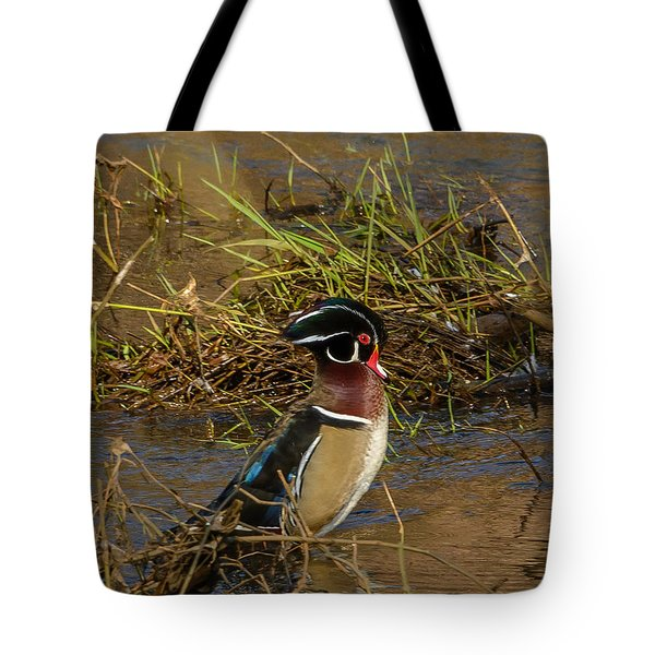 Upright Wood Duck Tote Bag