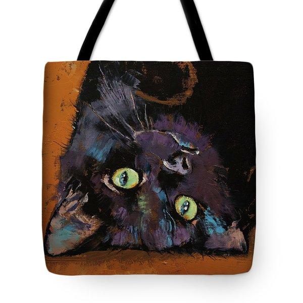 Upside Down Kitten Tote Bag