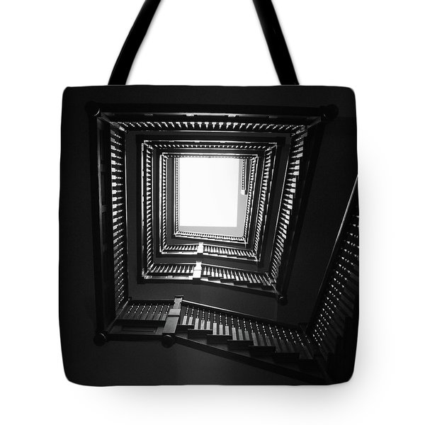 Upstairs- Black And White Photography By Linda Woods Tote Bag