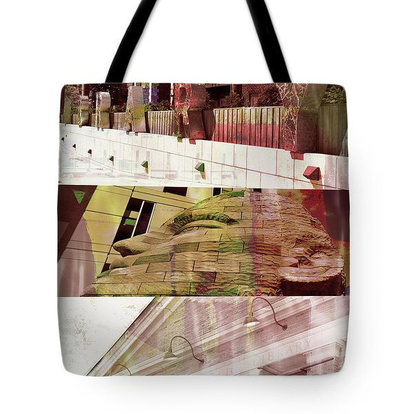 Tote Bag featuring the photograph Uptown Library With Color by Susan Stone