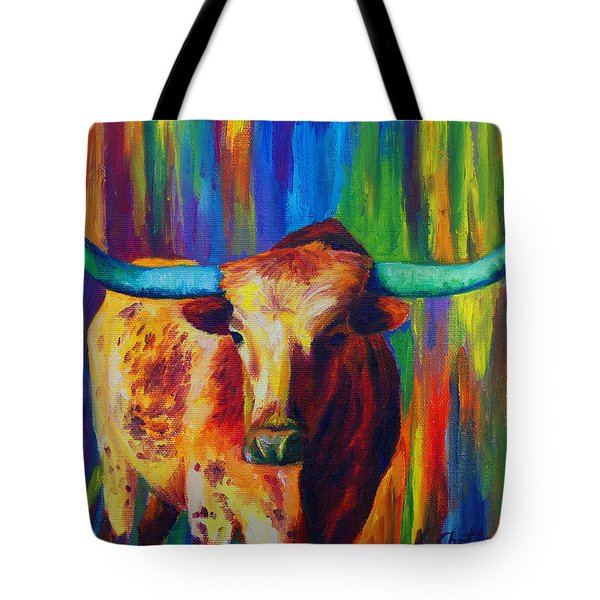 Tote Bag featuring the painting Uptown Longhorn by Karen Kennedy Chatham