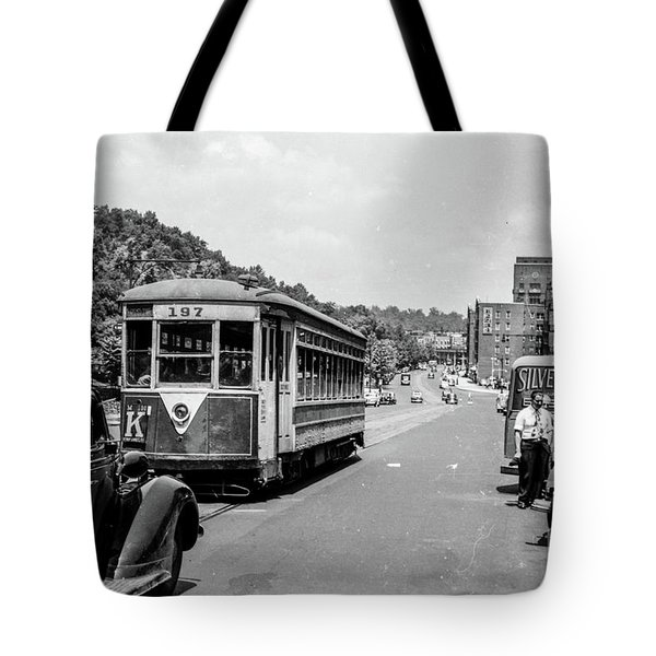 Tote Bag featuring the photograph Uptown Trolley Near 193rd Street by Cole Thompson