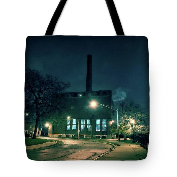 Chicago Urban Industrial Night Scenery Tote Bag