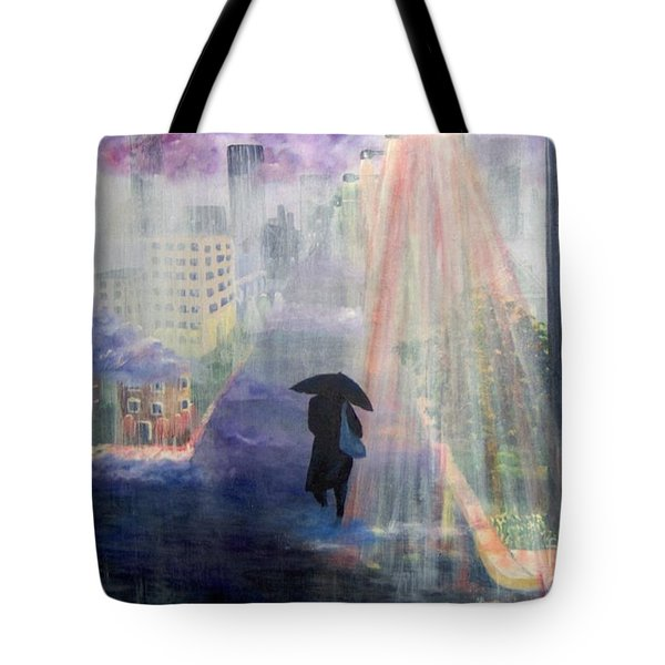 Tote Bag featuring the painting Urban Life by Saundra Johnson