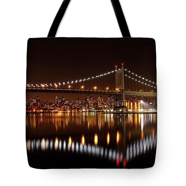 Urban Night Reflection Tote Bag