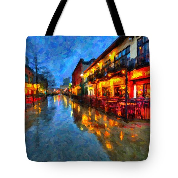 Urban Rain Reflections Tote Bag