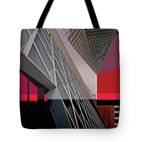 Tote Bag featuring the digital art Urban Sunset by Walter Fahmy