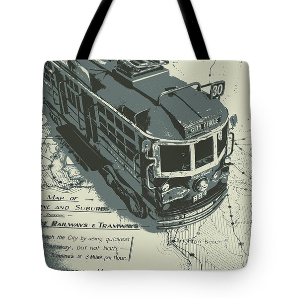 Urban Trams And Old Maps Tote Bag