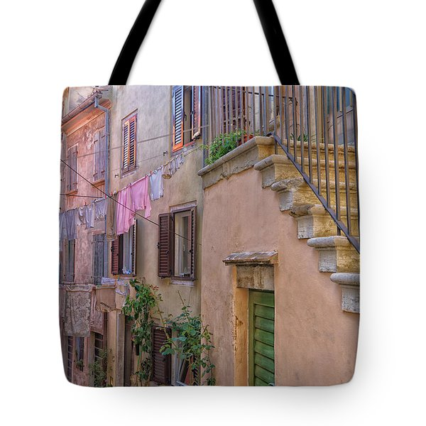 Urban View With Laundary Tote Bag by Uri Baruch