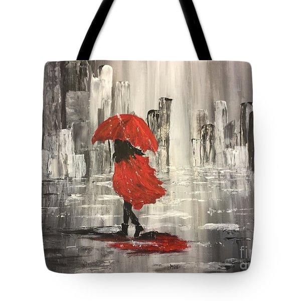 Urban Walk In The Rain Tote Bag by Lucia Grilletto