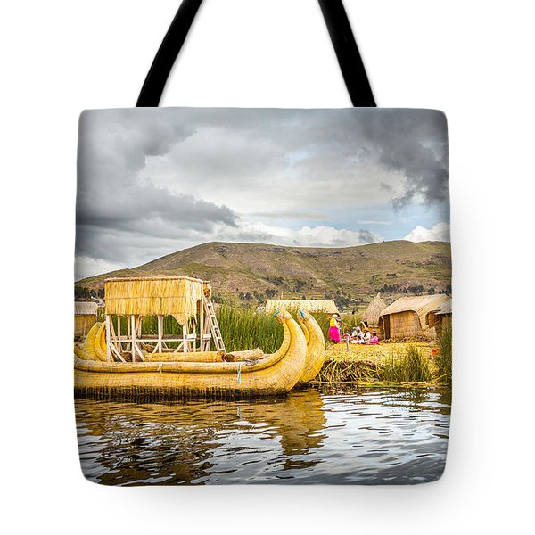 Tote Bag featuring the photograph Uros Boat by Gary Gillette