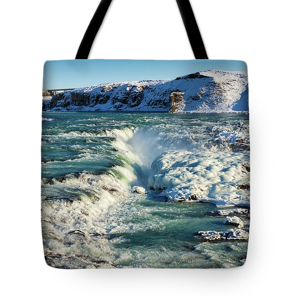 Tote Bag featuring the photograph Urridafoss Waterfall Iceland by Matthias Hauser