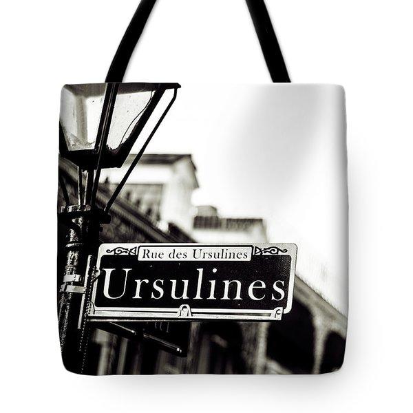 Ursulines In Monotone, New Orleans, Louisiana Tote Bag