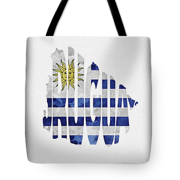 Uruguay Typographic Map Flag Tote Bag