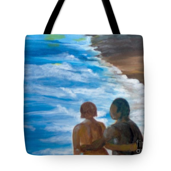 Tote Bag featuring the painting Us Against The World by Saundra Johnson