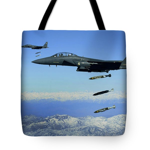 U.s. Air Force F-15e Strike Eagle Tote Bag by Stocktrek Images