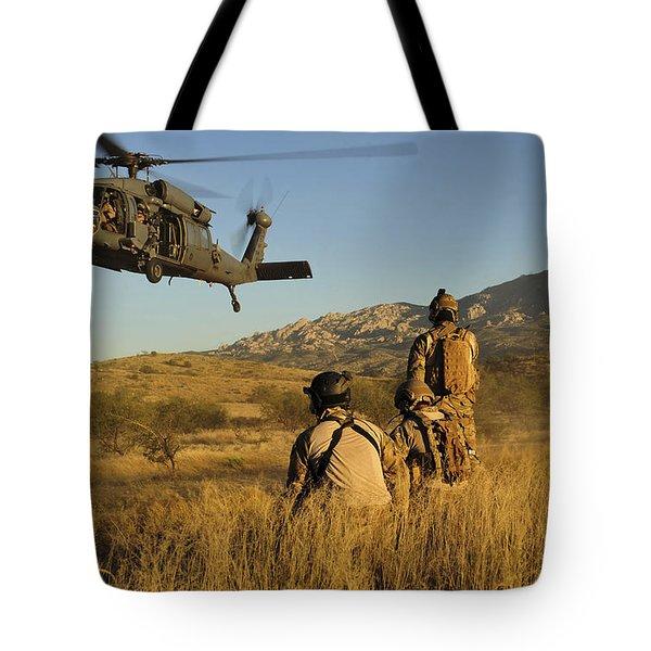 U.s. Air Force Pararescuemen Signal Tote Bag by Stocktrek Images