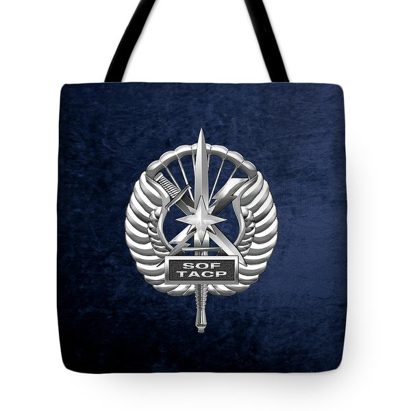 Tote Bag featuring the digital art U.s. Air Force Tactical Air Control Party - Special Tactics Tacp Crest Over Blue Velvet by Serge Averbukh