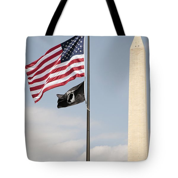 Us And Pow-mia Flags Fly In Washington Dc Tote Bag