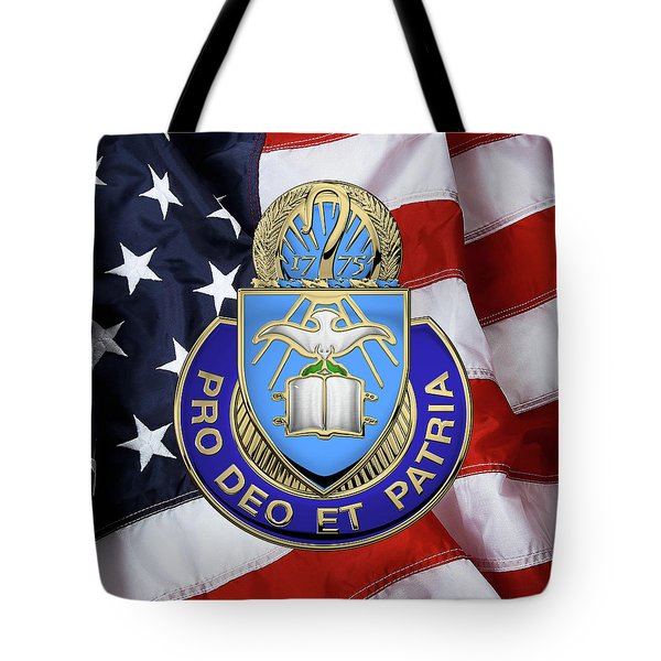Tote Bag featuring the digital art U.s. Army Chaplain Corps - Regimental Insignia Over American Flag by Serge Averbukh