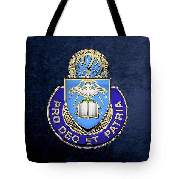 U. S. Army Chaplain Corps - Regimental Insignia Over Blue Velvet Tote Bag