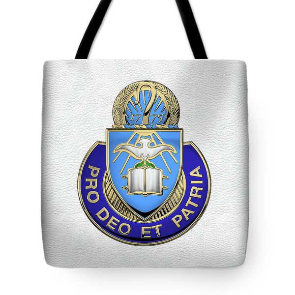 Tote Bag featuring the digital art U.s. Army Chaplain Corps - Regimental Insignia Over White Leather by Serge Averbukh