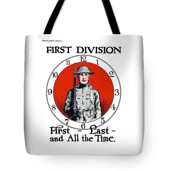 Tote Bag featuring the painting Us Army First Division - Ww1 by War Is Hell Store