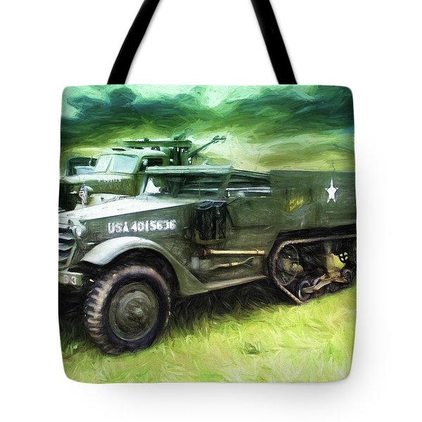 U.s. Army Halftrack Tote Bag by Michael Cleere