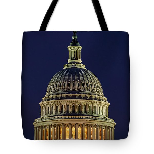 U.s. Capitol At Night Tote Bag by Nick Zelinsky
