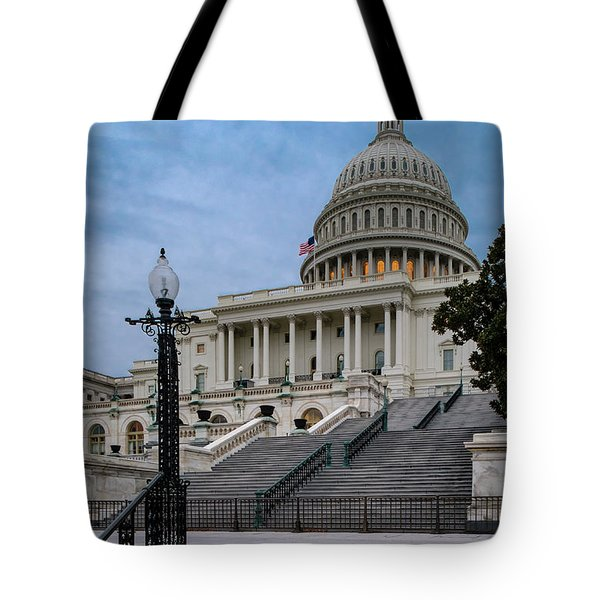 Tote Bag featuring the photograph Us Capitol Building Twilight by Susan Candelario
