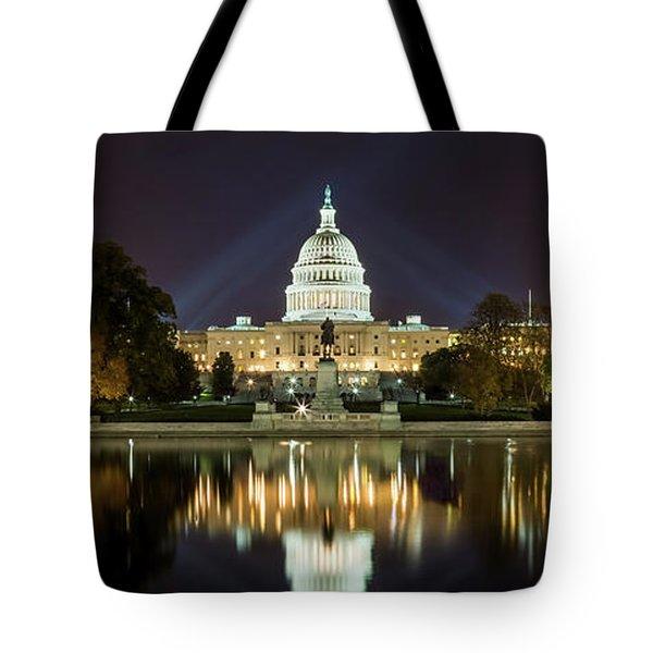 Us Capitol Night Panorama Tote Bag