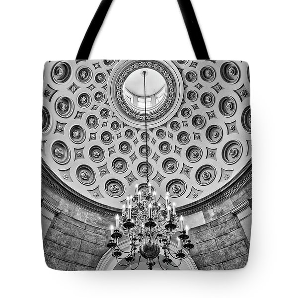 Tote Bag featuring the photograph Us Capitol Rotunda Washington Dc Bw by Susan Candelario