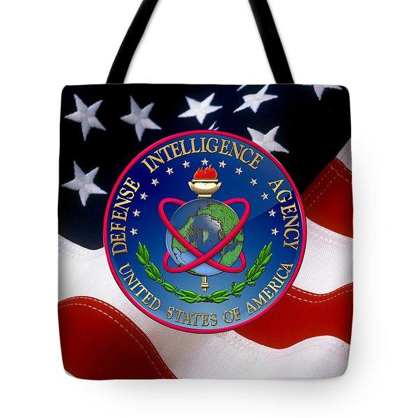 U. S. Defense Intelligence Agency - D I A Emblem Over Flag Tote Bag
