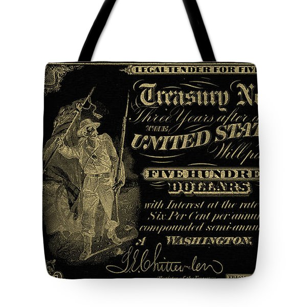Tote Bag featuring the digital art U.s. Five Hundred Dollar Bill - 1864 $500 Usd Treasury Note In Gold On Black by Serge Averbukh