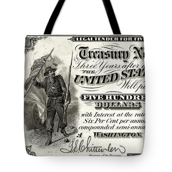 Tote Bag featuring the digital art U.s. Five Hundred Dollar Bill - 1864 $500 Usd Treasury Note  by Serge Averbukh