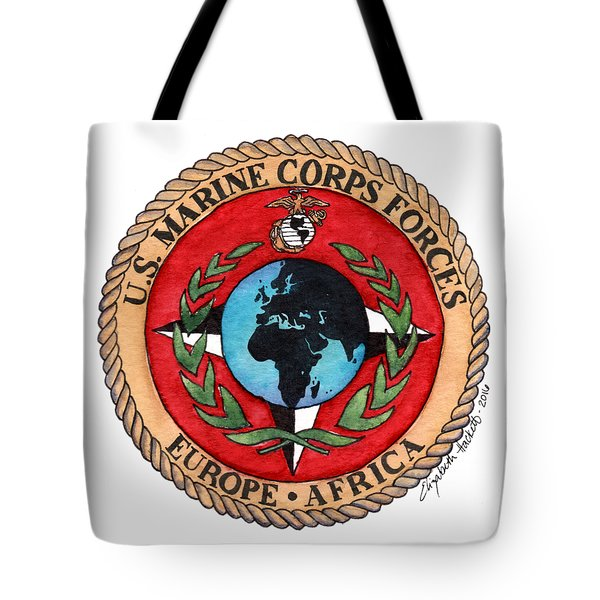 Tote Bag featuring the painting U.s. Marine Corps Forces Europe - Africa by Betsy Hackett