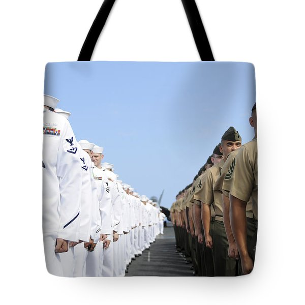 U.s. Marines And Sailors Stand Tote Bag