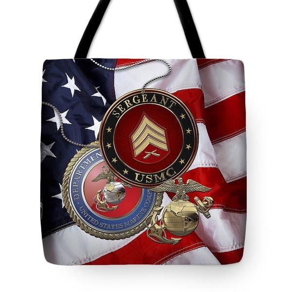 U. S. Marines Sergeant - U S M C Sgt Rank Insignia Over American Flag Tote Bag