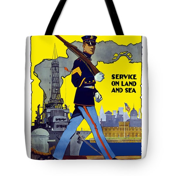 U.s. Marines - Service On Land And Sea Tote Bag