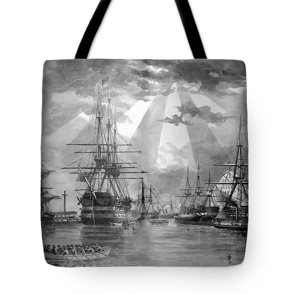 U.s. Naval Ships At The Brooklyn Navy Yard Tote Bag