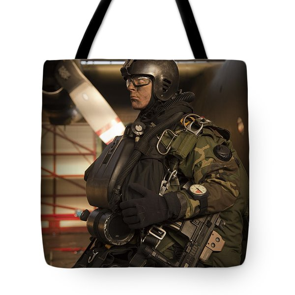 U.s. Navy Seal Combat Diver Prepares Tote Bag by Tom Weber
