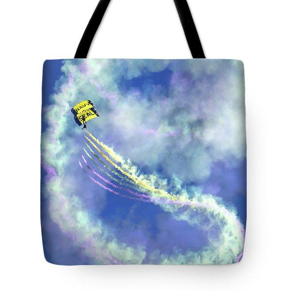 Us Navy Seals Colorful Parachute Jump Tote Bag