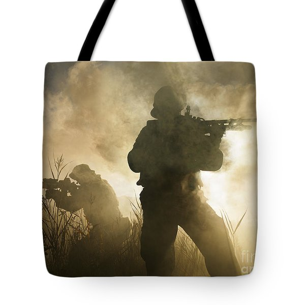 U.s. Navy Seals During A Combat Scene Tote Bag by Tom Weber